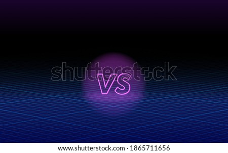 Versus template design in 80s style, futuristic synth retro wave background virtual reality concept. Vector illustration for games, battle, match, sports or fight competition, VS