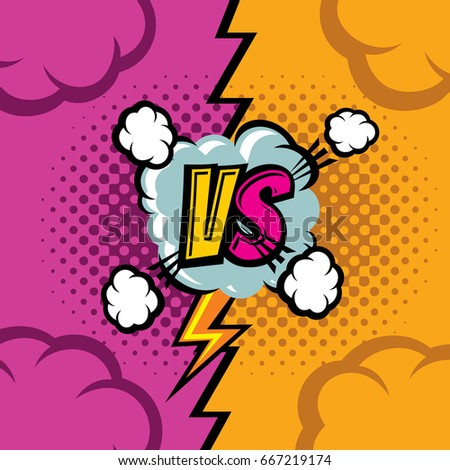 Stock Photo Versus vector cartoon comic book background. Fighting duel championship retro art. Competition and confrontation, compare and battle illustration