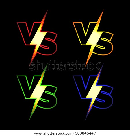 versus vector icons vs letters