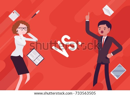 Versus. Vs. Business demotivation poster. Battle, contrast or the alternative of, fight between businessman and busineswoman in the office. Vector flat style cartoon illustration on red background
