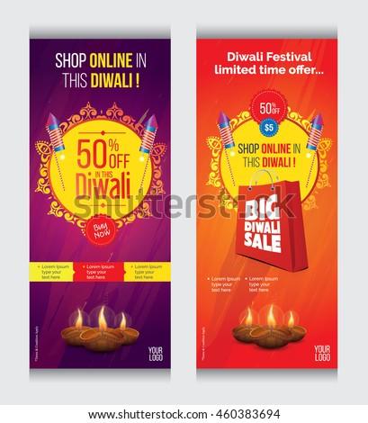 Vertial Diwali Sales Banner Template Set