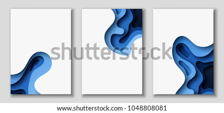 Vertical A4 banners with 3D abstract background with blue paper cut waves. Contrast colors. Vector design layout for presentations, flyers, posters