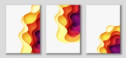 Vertical A4 banners with 3D abstract background with red, purple, violet, yellow paper cut waves. Contrast colors. Vector design layout for presentations, flyers, posters