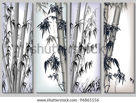Vertical abstract banners set in asian themes with bamboo in frames(badly editable).