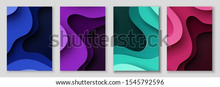 Vertical abstract banners with 3D with paper cut waves .Contrast colors. Vector design layout