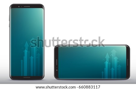 Vertical and Horizontal Smart Phone Vector Illustration.