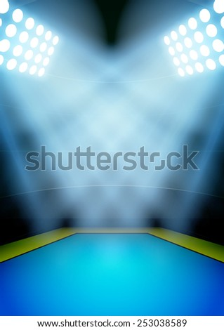 Vertical Background for posters night gymnastics and acrobatics stadium in the spotlight. Editable Vector Illustration.