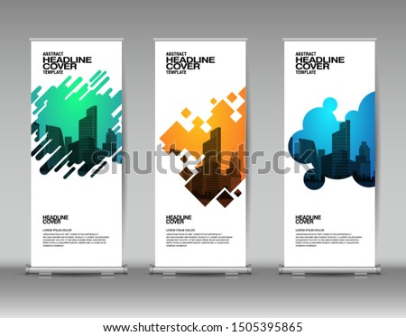 Vertical banner design template, abstract background.