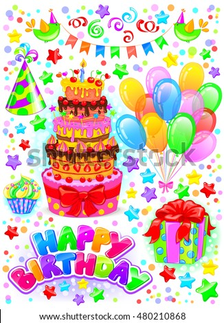 royalty free card happy birthday with balloons and 489840727 stock
