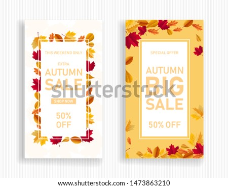 vertical banner of autumn sale. fall sale decorated with dried maple leaf suitable for e-commerce application splash screen on sale event. sale poster flyer vector template for retail shop.
