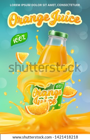 Vertical banner with 3D realistic advertising of orange juice, a bottle in a splash of orange juice among the splashes and a logo