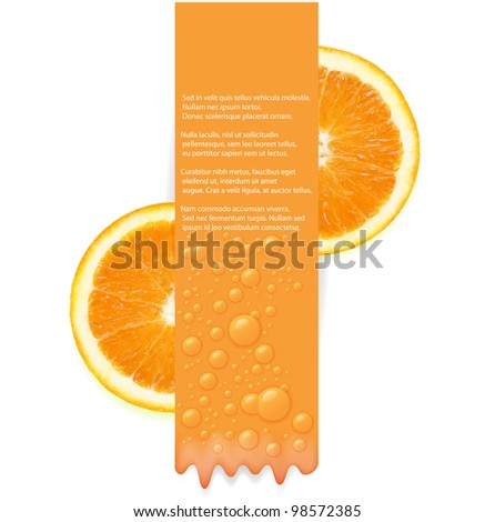 Vertical banner with water drops and two half orange fruit isolated on white background. Vector illustration.