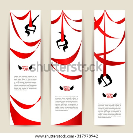 Vertical banners set. Black acrobat silhouette with red ribbon. Aerial silk dancer. Gymnast woman doing exercises. Yoga with hammock or anti gravity yoga. Typographic template for Your text. Vector.