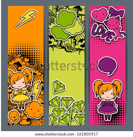 vertical banners with sticker