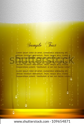 Vertical Beer background. Realistic vector illustration