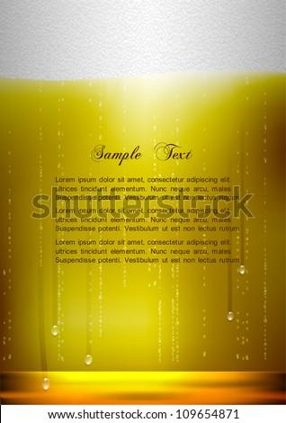 Vertical Beer background. Realistic vector illustration