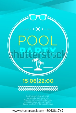 vertical blue pool party