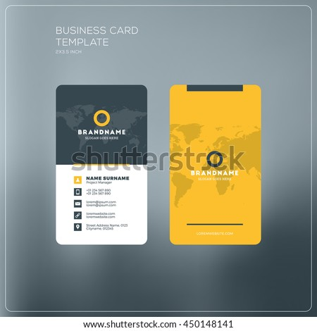 Vertical business card print template. Personal business card with company logo. Black and yellow colors. Clean flat design. Vector illustration. Business card mockup