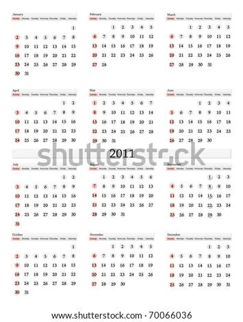 vertical 2011 calendar template