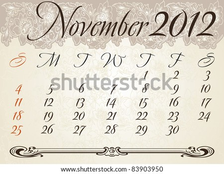 Vertical calendar 2012 year November