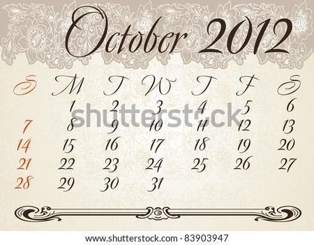 Vertical calendar 2012 year October