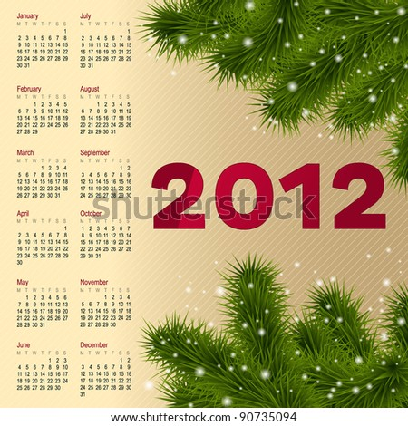 Vertical Calendar 2012 Year With Fur Tree, Vector Illustration