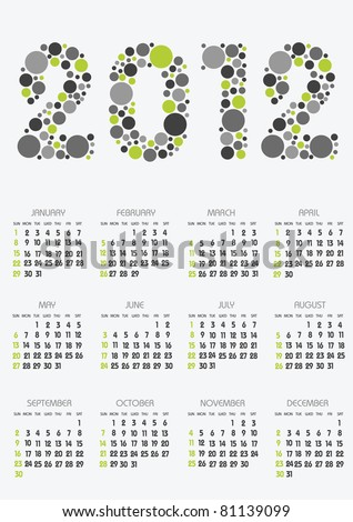 vertical calendar 2012 year with retro dots theme Сток-фото ©