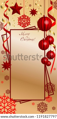 Vertical, Christmas, greeting composition with Christmas decorations. New Year's art, New Year's card with red balls, stars, snowflakes, serpentine.