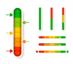 Vertical color level indicator. Progress bar template. Vector infographic illustration slider element measurement progression with arrow symbol