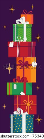 Vertical composition on tall stack of gift and present boxes and packages vector illustration. Ideal for Christmas or birthday web or graphic design