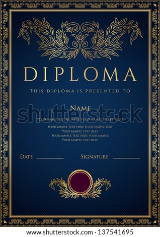 Vertical dark blue Diploma Certificate template with guilloche pattern watermarks golden floral border Background design usable for invitation gift voucher or awards Vector