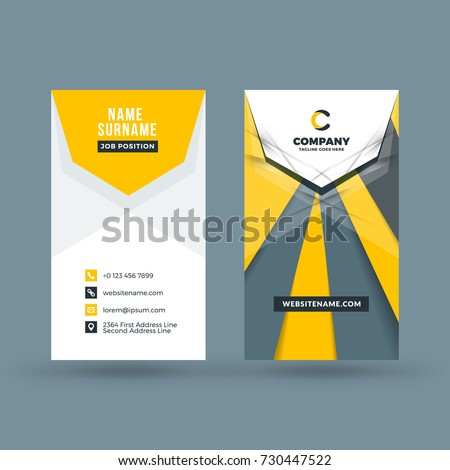 Vertical double-sided business card template. Vector illustration. Stationery design.