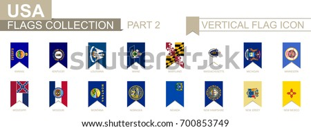 Vertical flag icon of U.S. states. USA state vector flag collection, part 2.