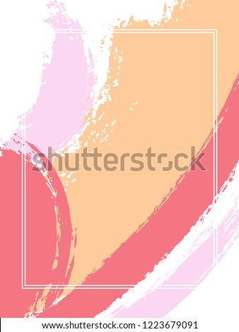 Vertical frame with paint brush strokes background.  Trendy design template for card. Vector border rectangular frame with colorful painted ink brushstrokes backdrop, watercolor texture.