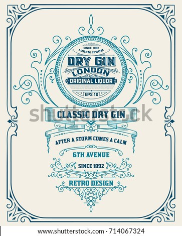 Vertical Gin label with floral frame