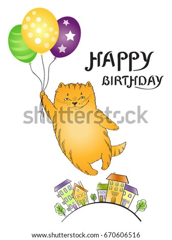 Vertical greeting card with flying red cat with balloons and calligraphy lettering happy birthday - vector Illustration