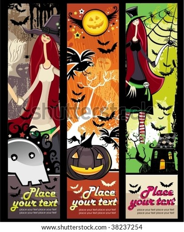 Vertical Halloween grunge banners with witch, zombie, pumpkin, skull, bat, spiders, raven, tree, ghost, house.
