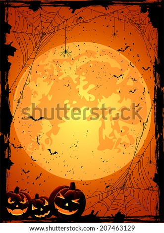 Vertical Halloween night background with Moon, spiders and Jack O' Lanterns, illustration.