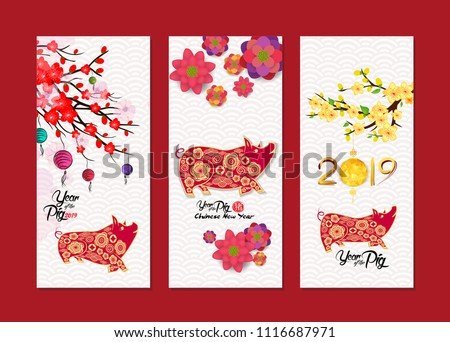 Vertical Hand Drawn Banners Set with Chinese New Year (hieroglyph: Pig)