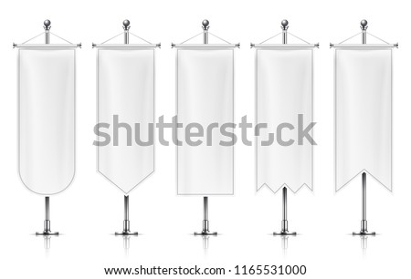 Vertical hanging banners. White empty flags on metal post. Fabric banner vector mockup isolated on white background. Collection of banner vertical for advertising, hanging fabric illustration