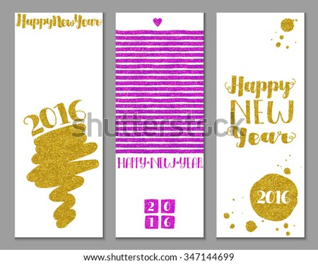 Vertical Happy New Year banners, with gold and bright pink/fuchsia glitter texture and abstract decorative elements on white background, hand drawn