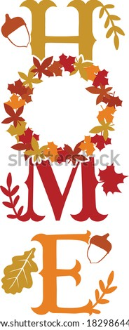 Vertical Home Porch Sign with leaves wreath| Fall/Autumn themed Foto stock ©