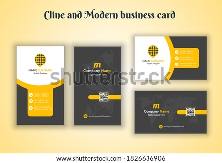 Vertical & Horizontal Cline and Modern Business card print template Foto stock ©