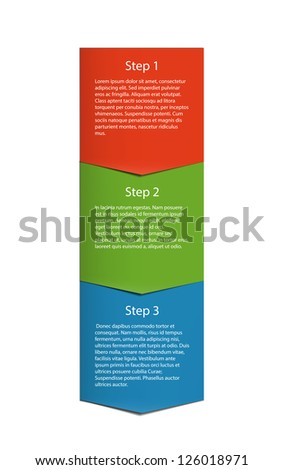 Vertical label made of three parts pointing down. EPS10 vector.
