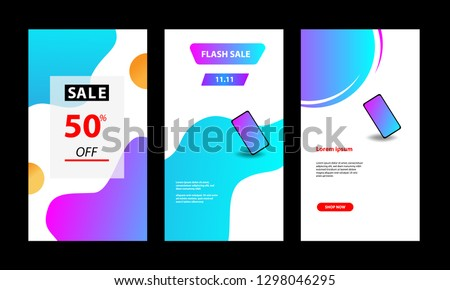 Vertical modern wave fluid background template with gradient blue, pink, purple gradation for promotional. Suitable for social media stories, story, internet web banner, flyer,poster and brochure.