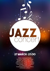 Vertical music jazz poster with blurred background and text. Vector illustration.