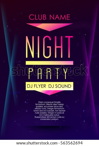 Vertical music party poster with color graphic elements, dark background and text.  Vector illustration.