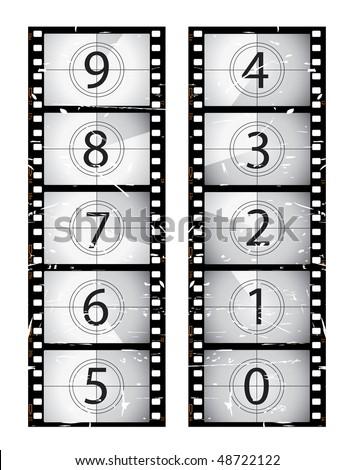 Vertical old film countdown