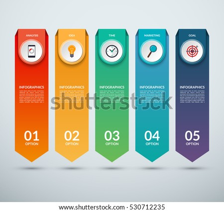 Shutterstock Vertical options banner for infographics. Arrow design template with 5 options, steps, parts. Vector background. Can be used for web design, vertical chart or graph, step options, business report etc.