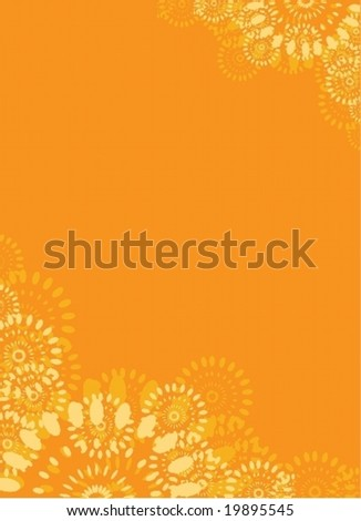 Vertical orange vector background with abstract floral elements